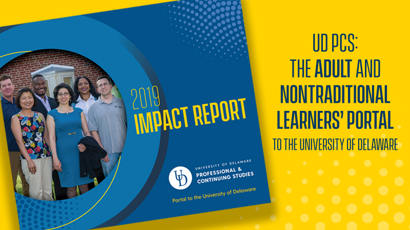 Six adult students standing together on cover of 2019 Impact Report