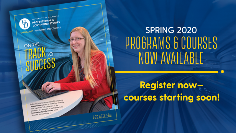 Banner with thumbnail of UD PCS spring 2020 course guide