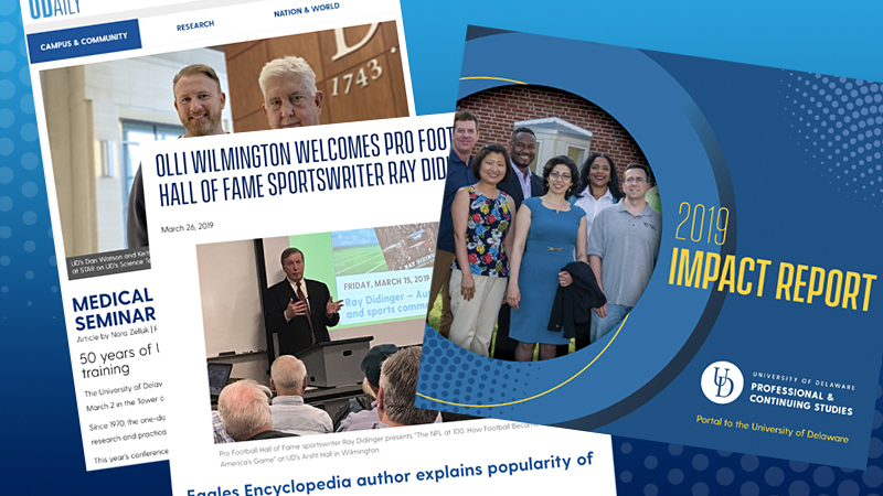 images of two website pages of articles and cover of impact report featuring six students posing