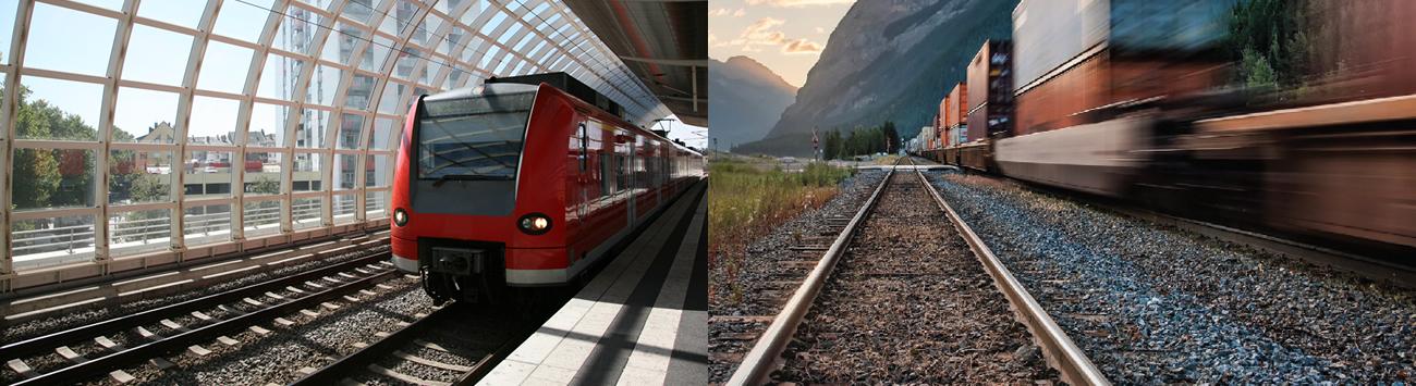 rail station and train tracks