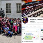 Group of Upward Bound Classic students and image of Dickinson Theatre Organ Society Facebook page