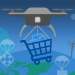 Illustrations of drones delivering items around the world