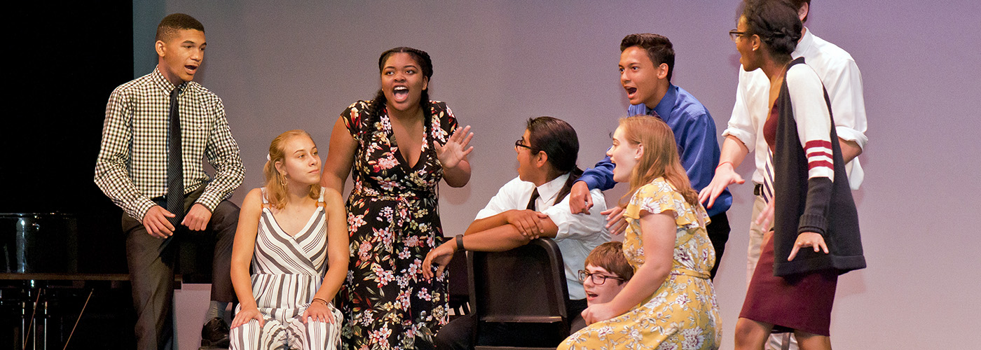 Eight teenage Governor's School performers on stage